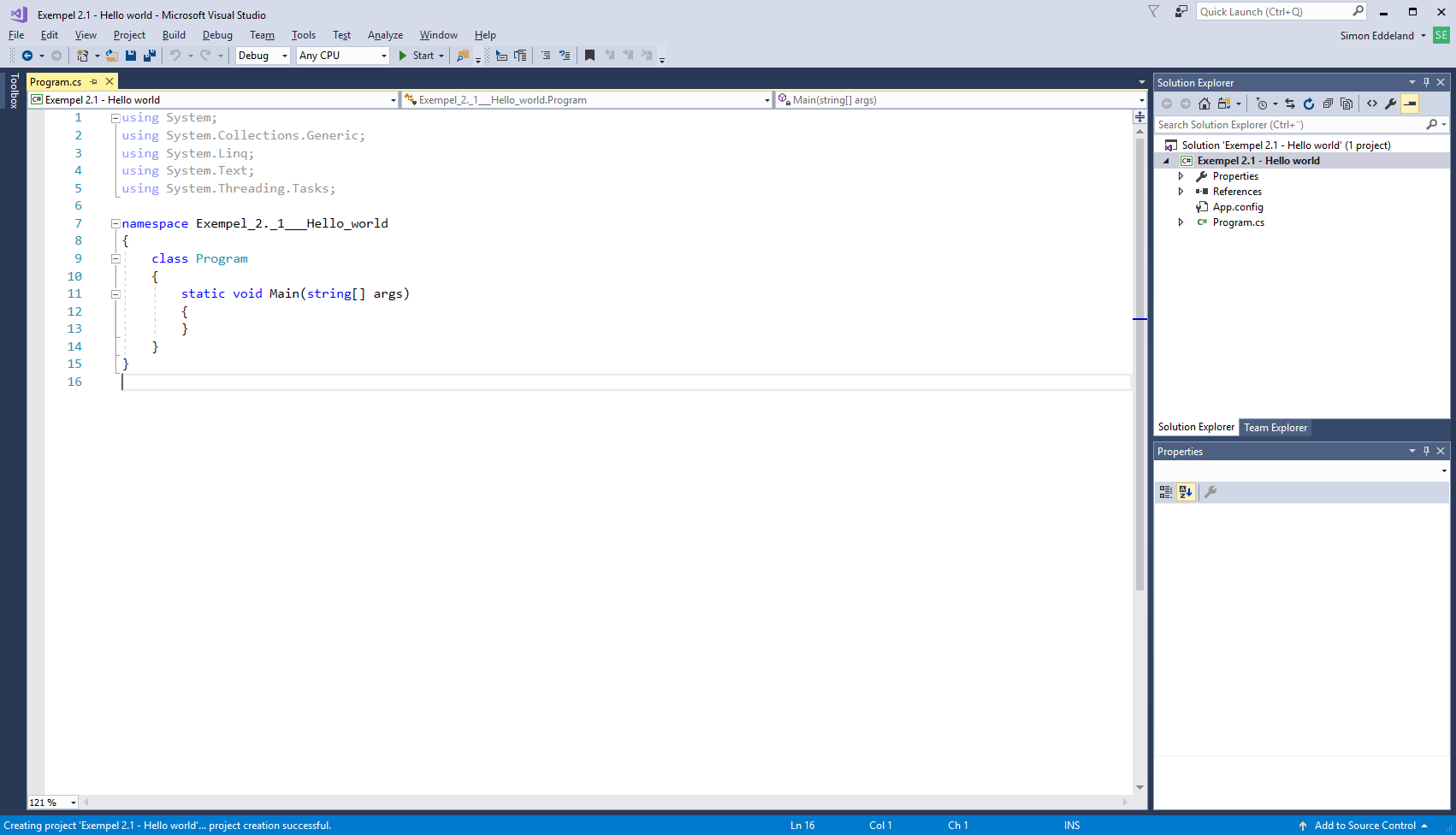 Tomt program i Visual Studio