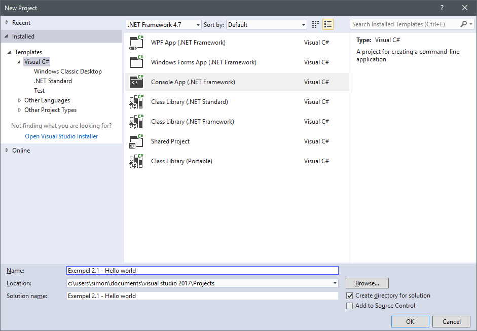 Nytt program i Visual Studio